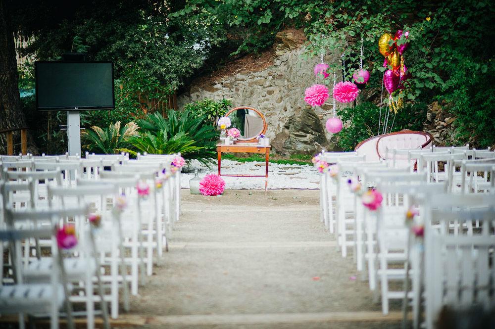 Ceremonia pompones rosas
