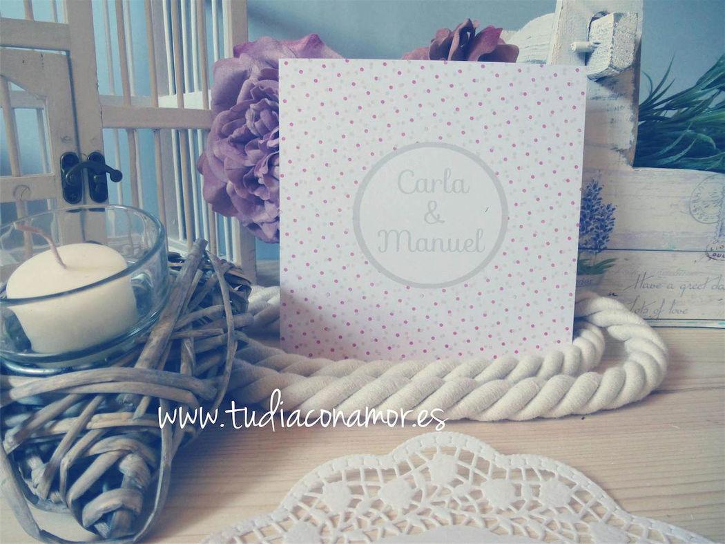 Invitación de boda topos de colores