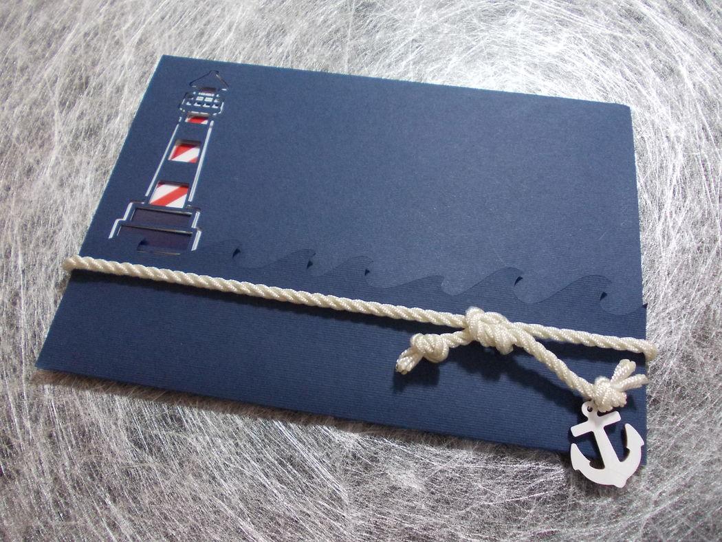 Invitación de boda con temática marinera.
