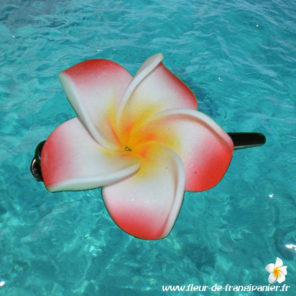 Pinces pélican de 6 cm ornées d'une fleur de frangipanier de 6 cm. Nombreux coloris disponibles.