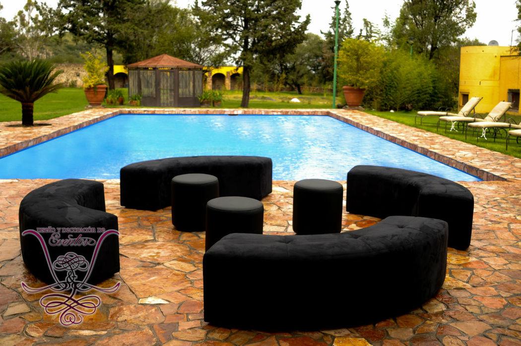 Salas Lounge negras y circulares  L&L EVENTOS