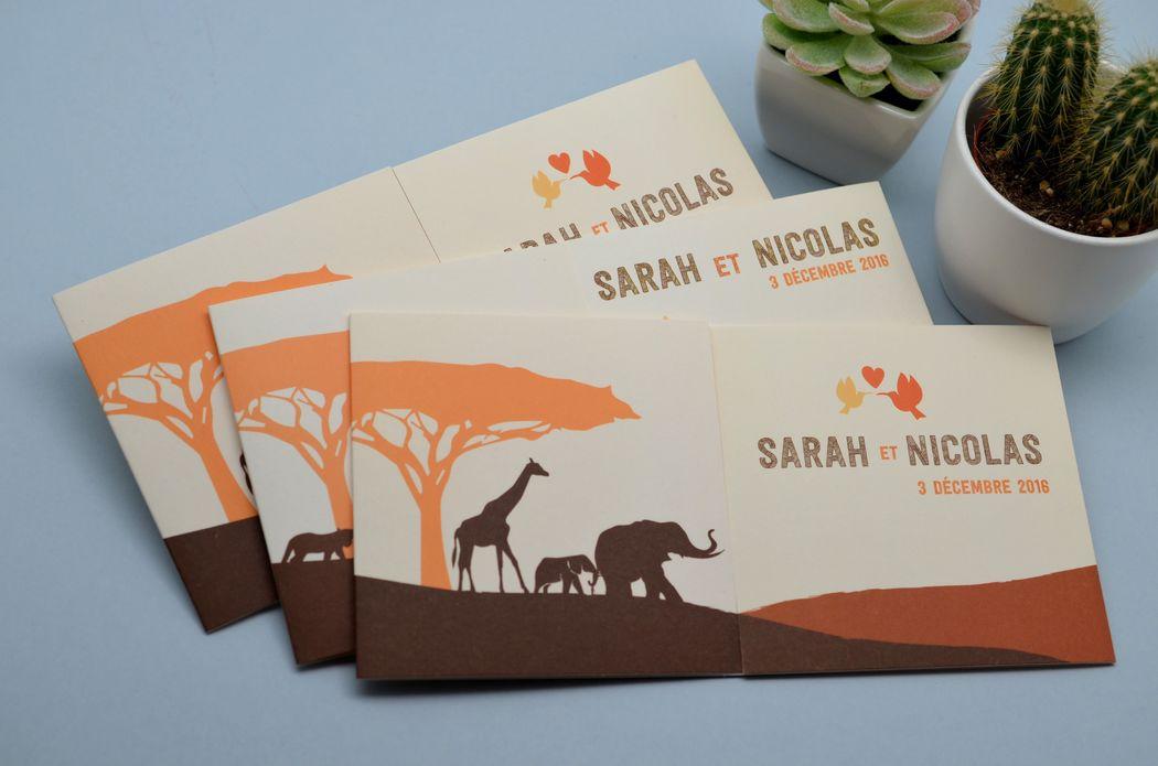 Faire-part Safari Afrique L'Atelier d'Elsa Le Véritable Faire-part Sur Mesure