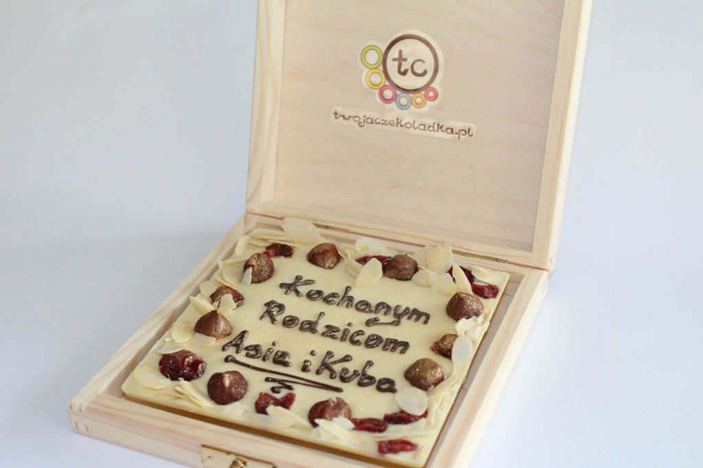 podziękowanie dla gości i rodziców - czekolada z napisem