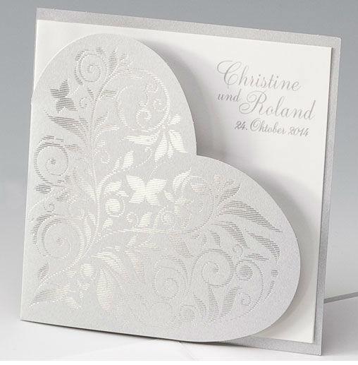 Beispiel: Hochzeitseinladung - Herz in Silber, Foto: Whitestore.at.
