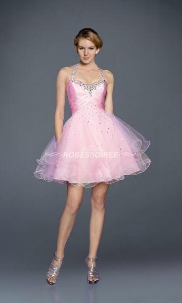 Robe de bulle halter rose