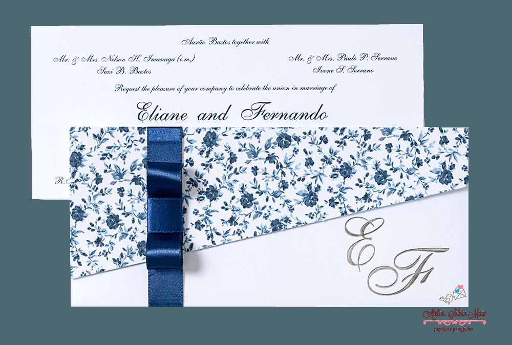 Convite Transversal  aplicação de tecido  - Ref. CS.0144