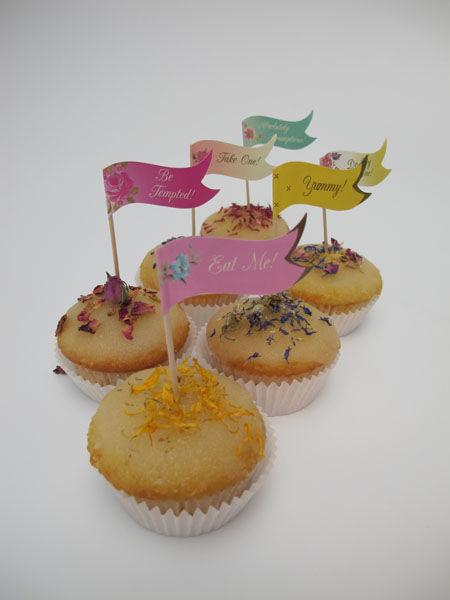 Beispiel: Cupcakes mit Bioblüten, Foto: Madame Miammiam.
