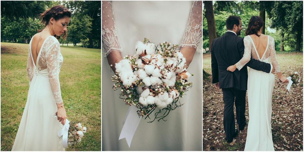 photographe couple nantes mariage mariés robe fleurs bouquet