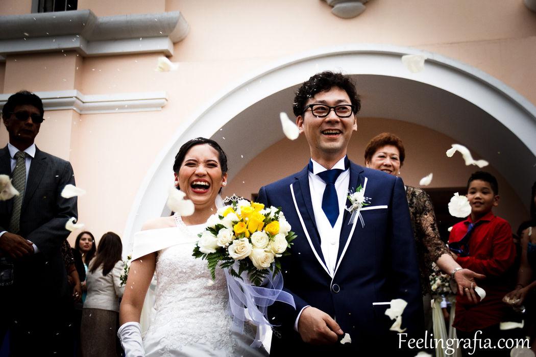 Pamela y Kohei llegaron de Japón para contraer nupcias con las costumbres católica de nuestro país.