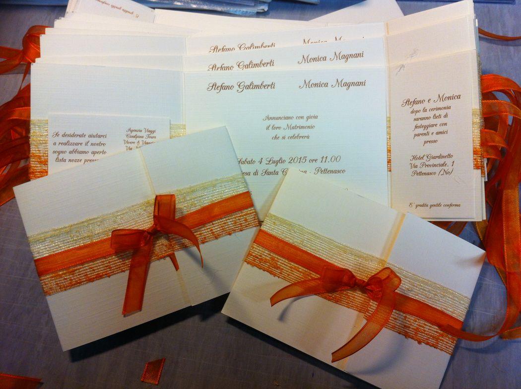Partecipazioni matrimonio a tema arancione