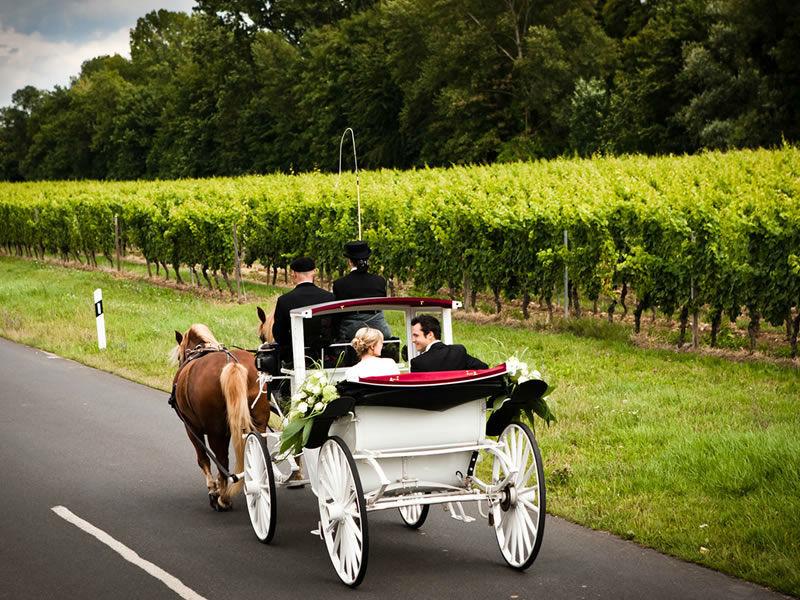 Beispiel: Hochzeit mit Hochzeitskutsche, Foto: Die Engel der Hochzeit.