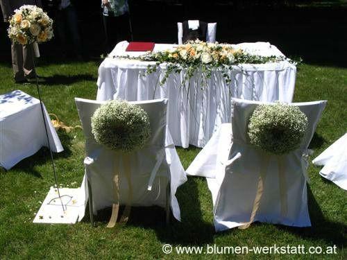 Beispiel: Blumenschmuck für die Hochzeitszeremonie, Foto: Blumenwerkstatt Klára Kwas.