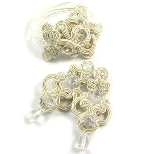 Małgorzata Sowa - PiLLow Design, Biżuteria ślubna sutasz. Ażurowy komplet w kolorze IVORY - kryształy Swarovski, kryształ górski, sutasz, srebro