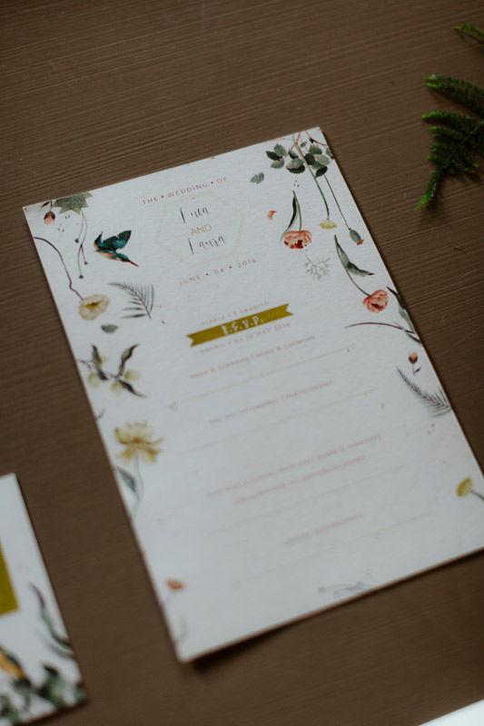 RSVP: illustrazione personalizzata, tema botanico - foto di Erin & Gabri Photography