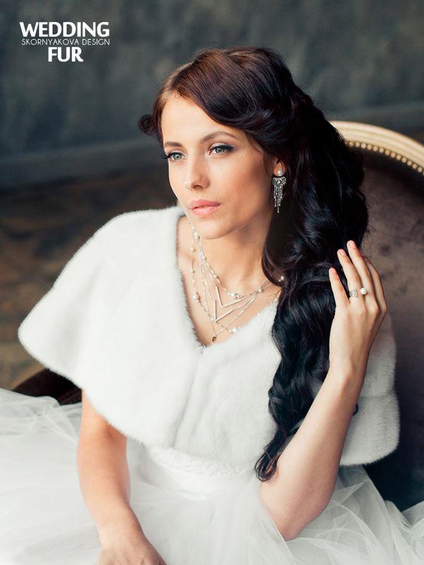 Свадебная меховая накидка из норки белая