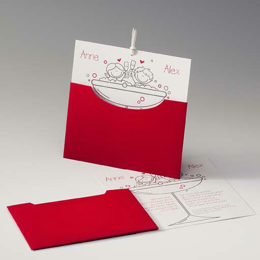 Beispiel: Hochzeitseinladung in weiß und rot mit Aufdruck, Foto: Druckerei Rokos.