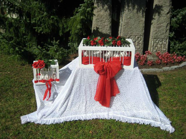 Beispiel: Hochzeitstauben - Korb, Foto: Hochzeitstauben Uwe Penkert.