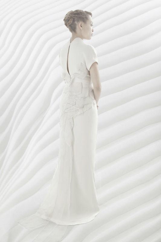 Beaumenay Joannet Paris, robe de mariée créateur, fourreau de crêpe