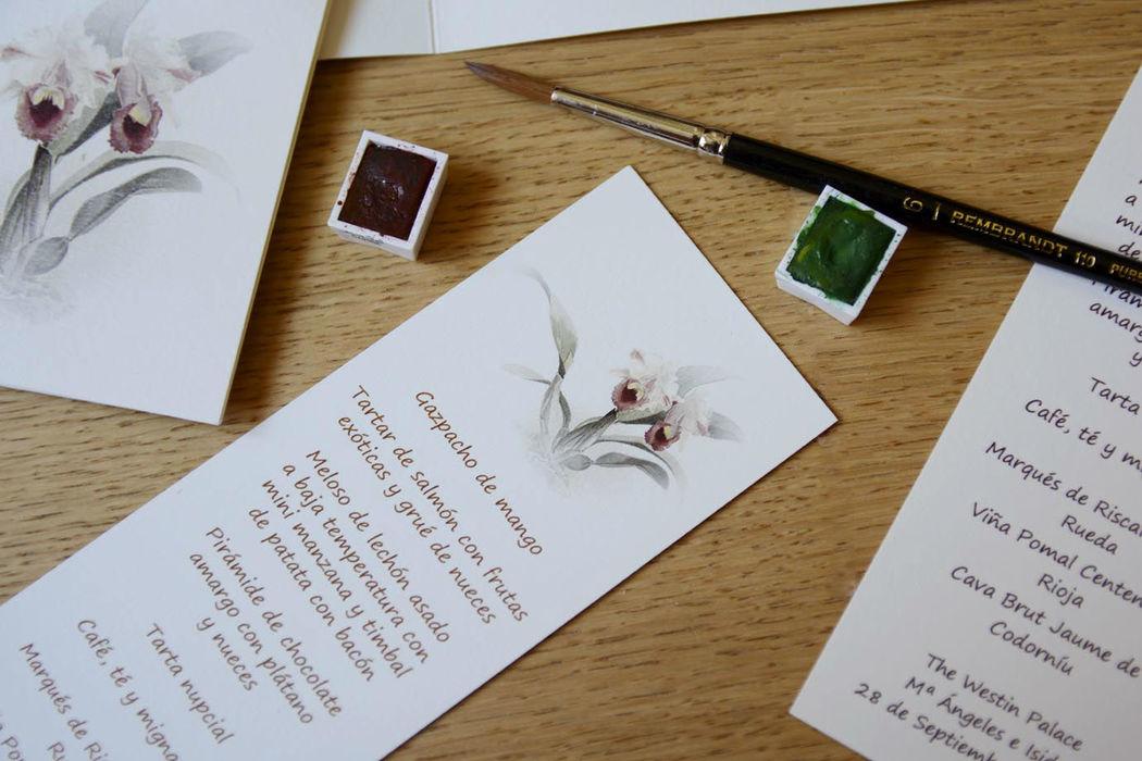 Minutas en forma de marcapáginas, un recuerdo para los invitados.