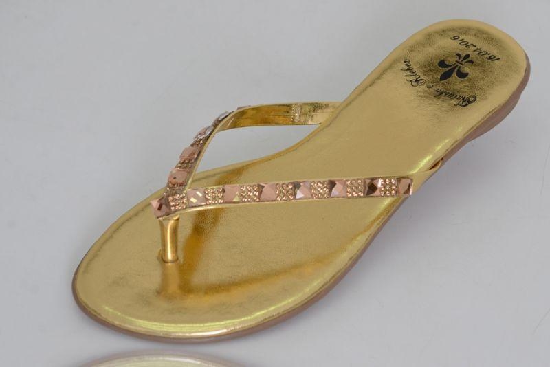Slim Vip Dourada com Pedras e Strass Dourado