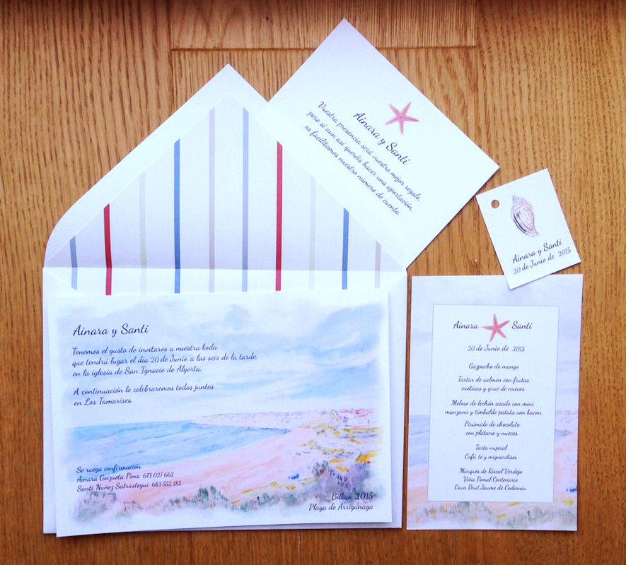 Personalizamos vuestras invitaciones con acuarelas y dibujos creando un conjunto de papelería armonioso