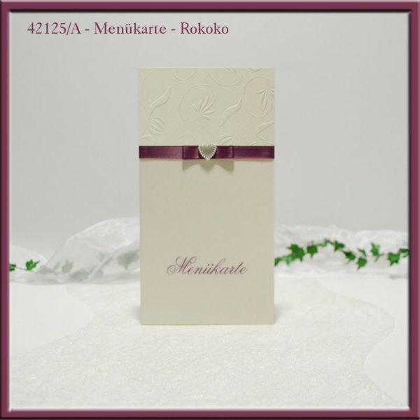 Beispiel: Menükarte, Foto: Adam & Eva Hochzeitskarten.