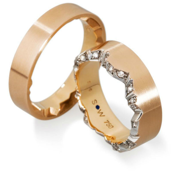 Beispiel: Diamantring Rotgold-Weißgold, Foto: Anne Korn Ringe.