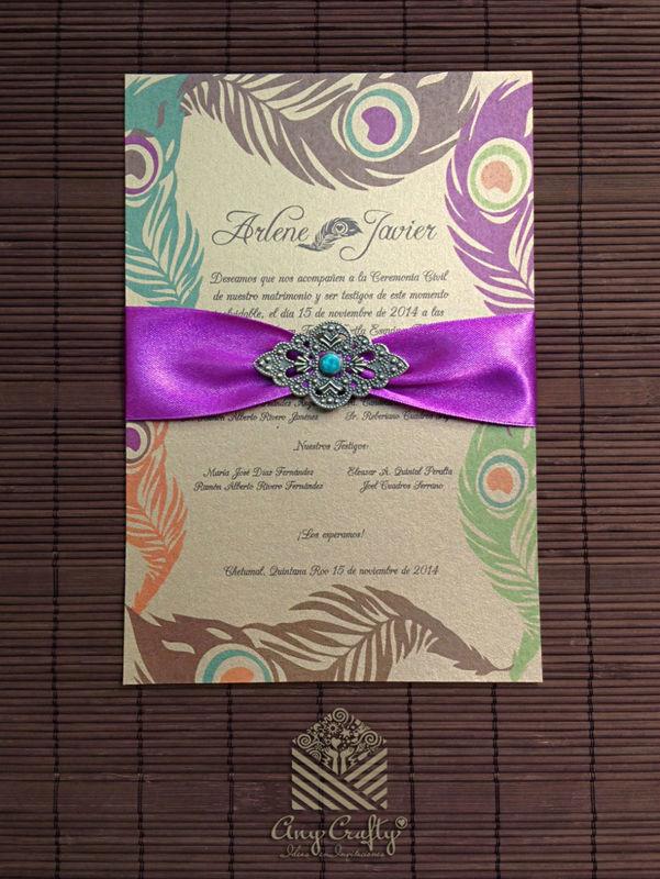 Invitación Pavo real sencilla con detalle de filigrana metálica