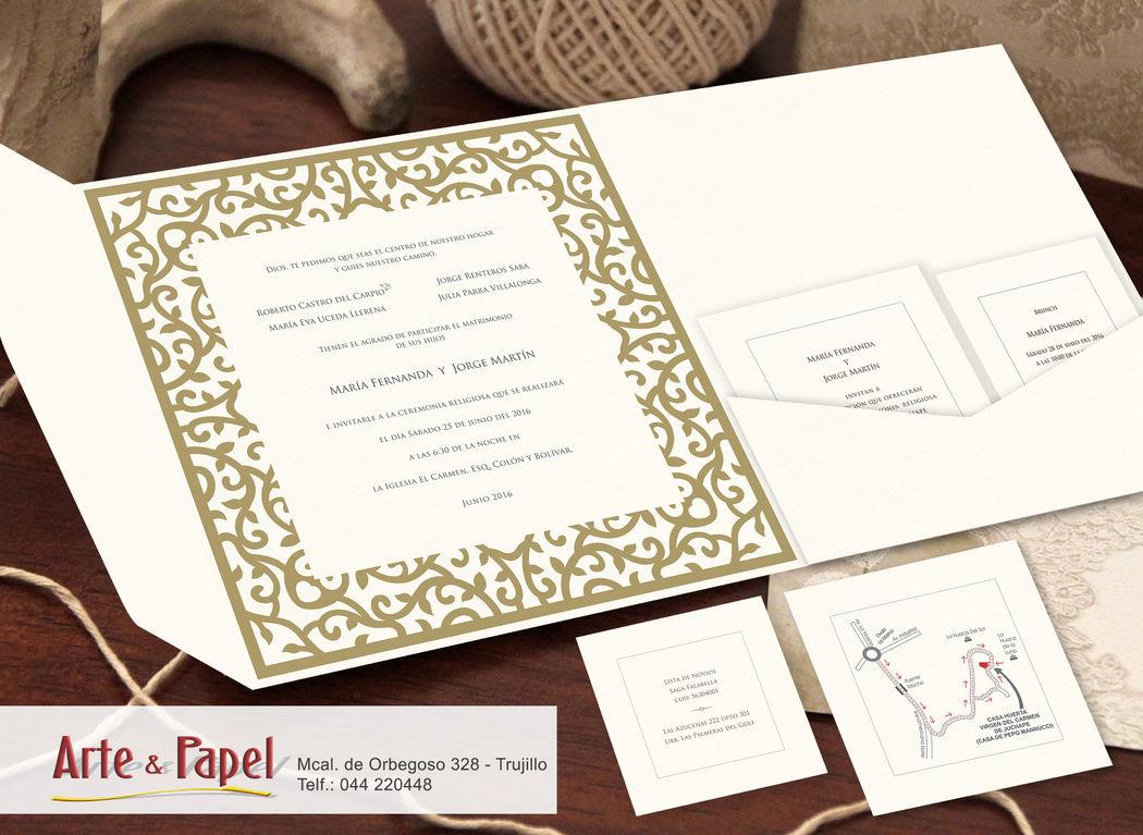 Invitacion vintage, con acabados de papel calado y finos detalles.