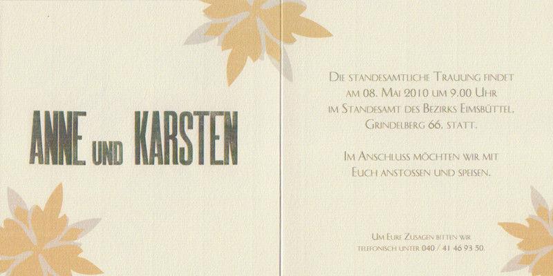 Beispiel: Individuelles Design, Foto: Die Drucker Hochzeitskarten.