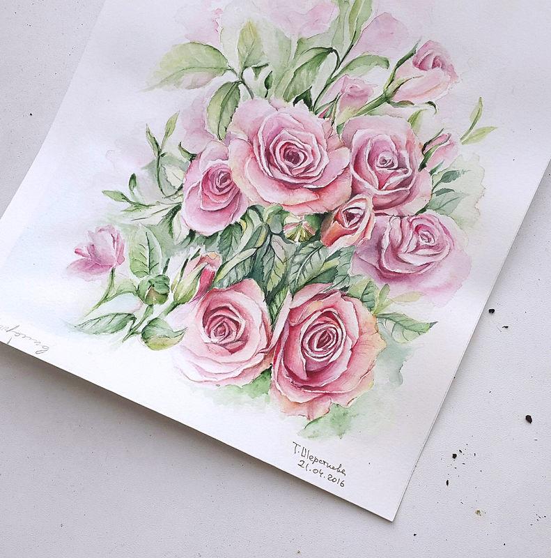Акварельная иллюстрация для свадебной полиграфии. Июньская свадьба будет в пастельных тонах с оформлением кустовыми розами и птицами. Планируется атмосфера замка в цветущем саду. Далее осталось собрать макет для печати.