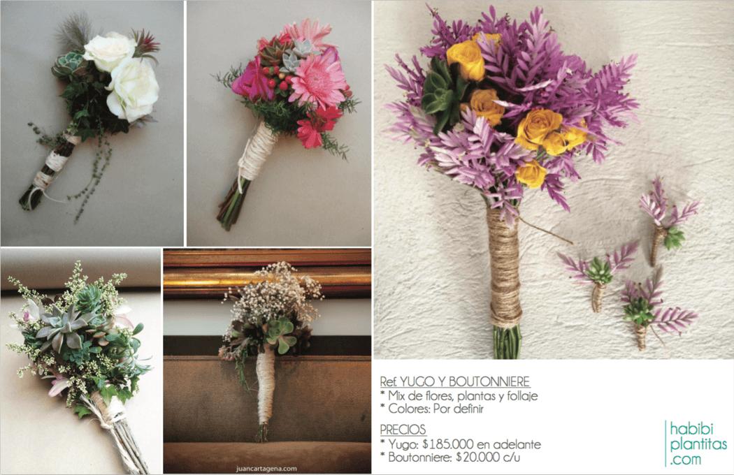 Yugos y Boutonnieres * Mix de flores, plantas naturales y follaje