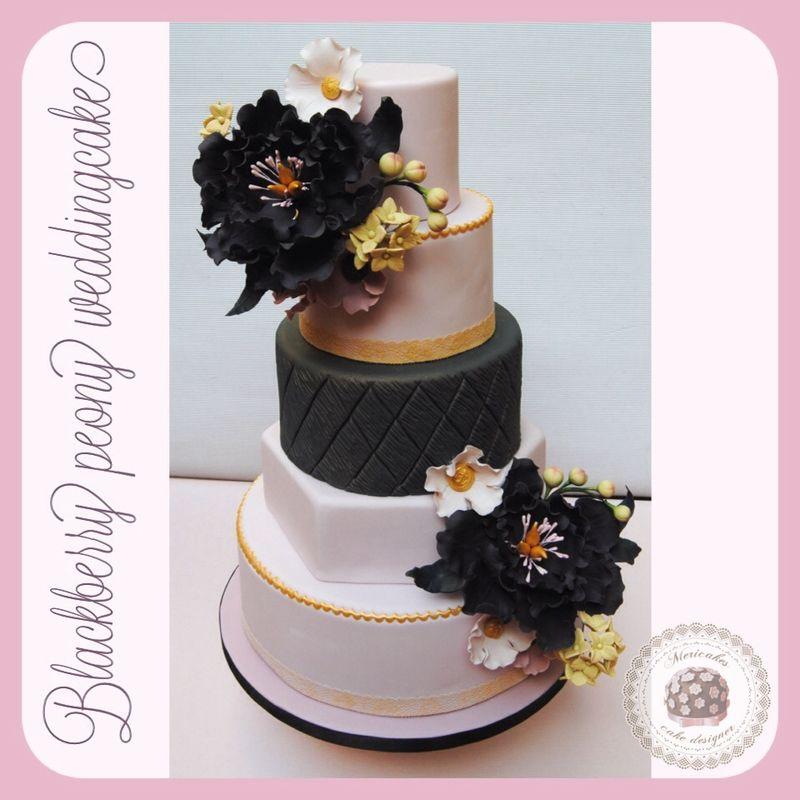 Blackberry peony wedding cake