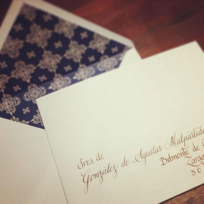 Invitación con caligrafía
