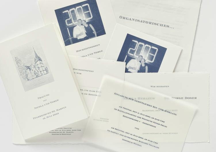 Beispiel: Hochzeitspapeterie, Foto: Druckerei Friesl.
