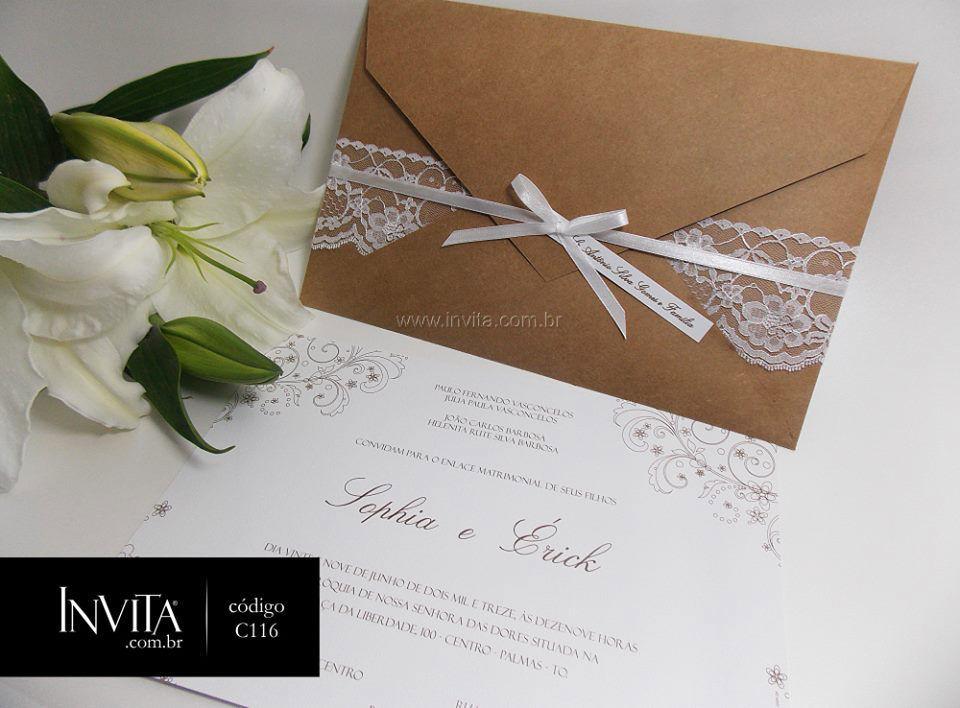 Convite de Casamento Rústico com aplicação de Renda - Cód.: C116