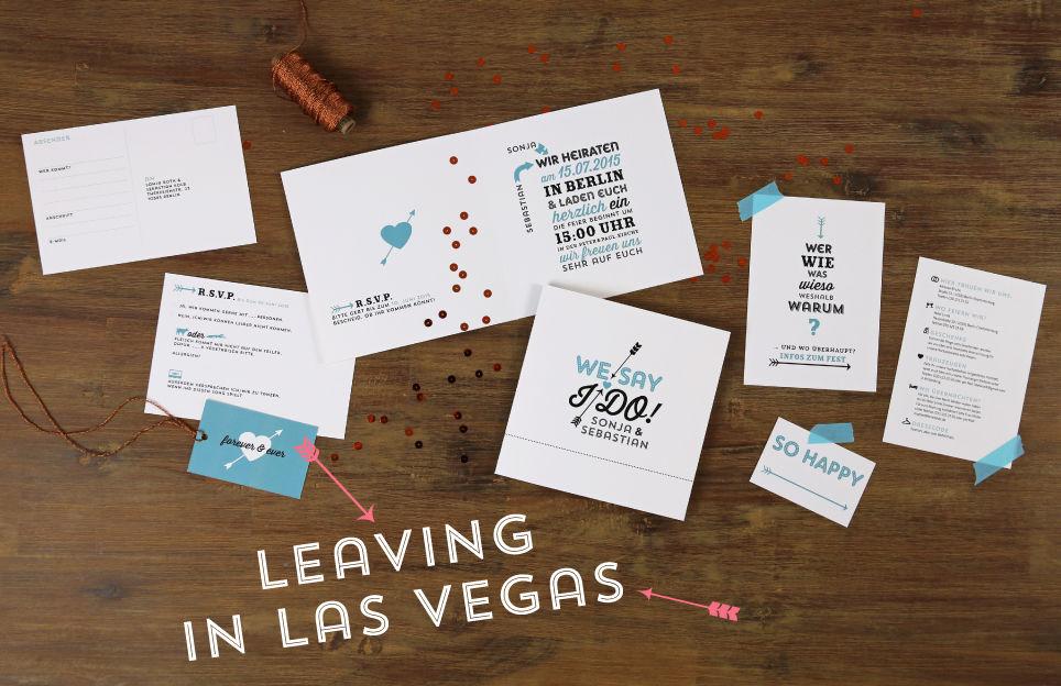 Nicht nur für die Hochzeit in Kalifornien: Einladung mit Antwortkarte und Infoteil, sowie Namenskärtchen aus der Serie Las Vegas.