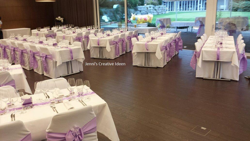 Stuhlhussen mit Lavendel Satinschleifen Foto Jenni's Creative Ideen