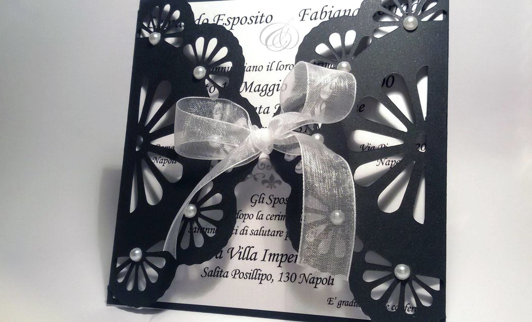 Invito di Nozze in pizzo carta black and white
