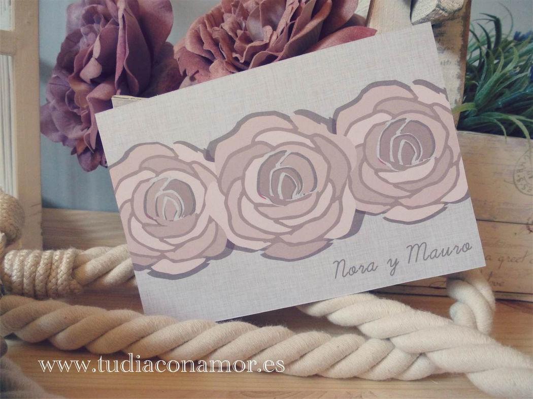 Invitación postal con rosas