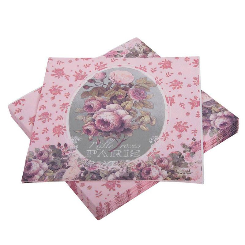 Serviettes en papier milles roses