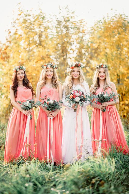 Невеста с подружками, краски осени