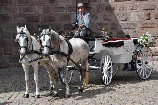 Beispiel: Hochzeitskutsche, Foto: Wilhelm Schuh Hochzeits- und Kutschfahrten.