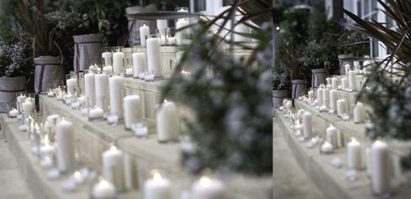 Velas blancas para ambientar y decorar. Sencillo y dulce.  http://lafloreria.net