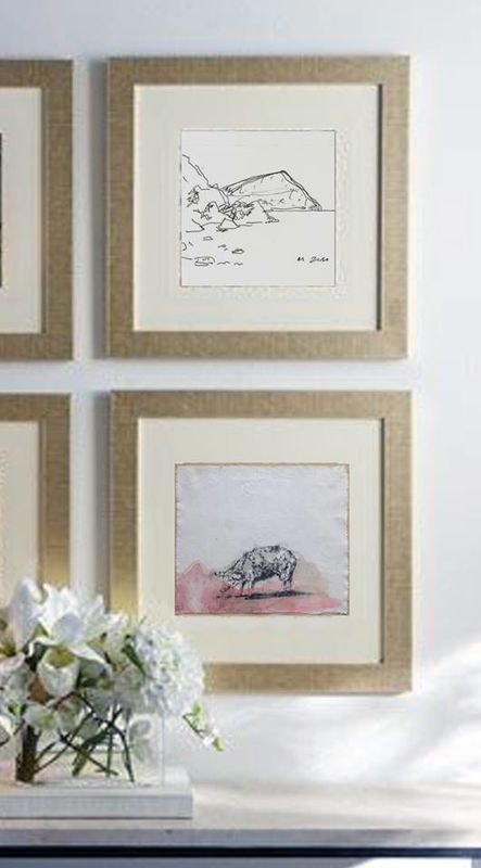 Monte Brasil I - Rodrigo Coelho 20 x 14 cm  € 58,00 + IVA  Pig - Angelina Silva 35,5 x 36 cm € 108,00 + IVA   www.drawing-box.pt | info@drawing-box.pt  Imagem original: https://pt.pinterest.com/pin/485051822339693299/