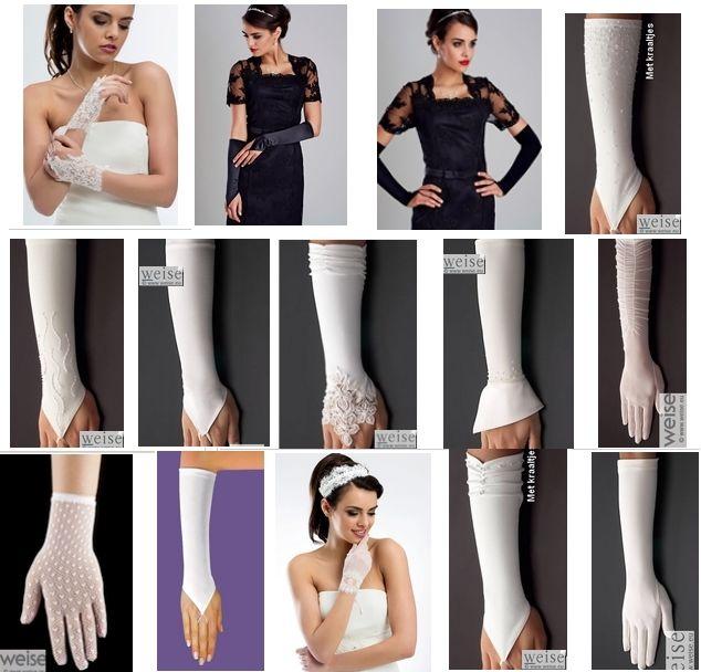 Diverse handschoenen voor de bruid bij www.kristinabruidsmode.nl