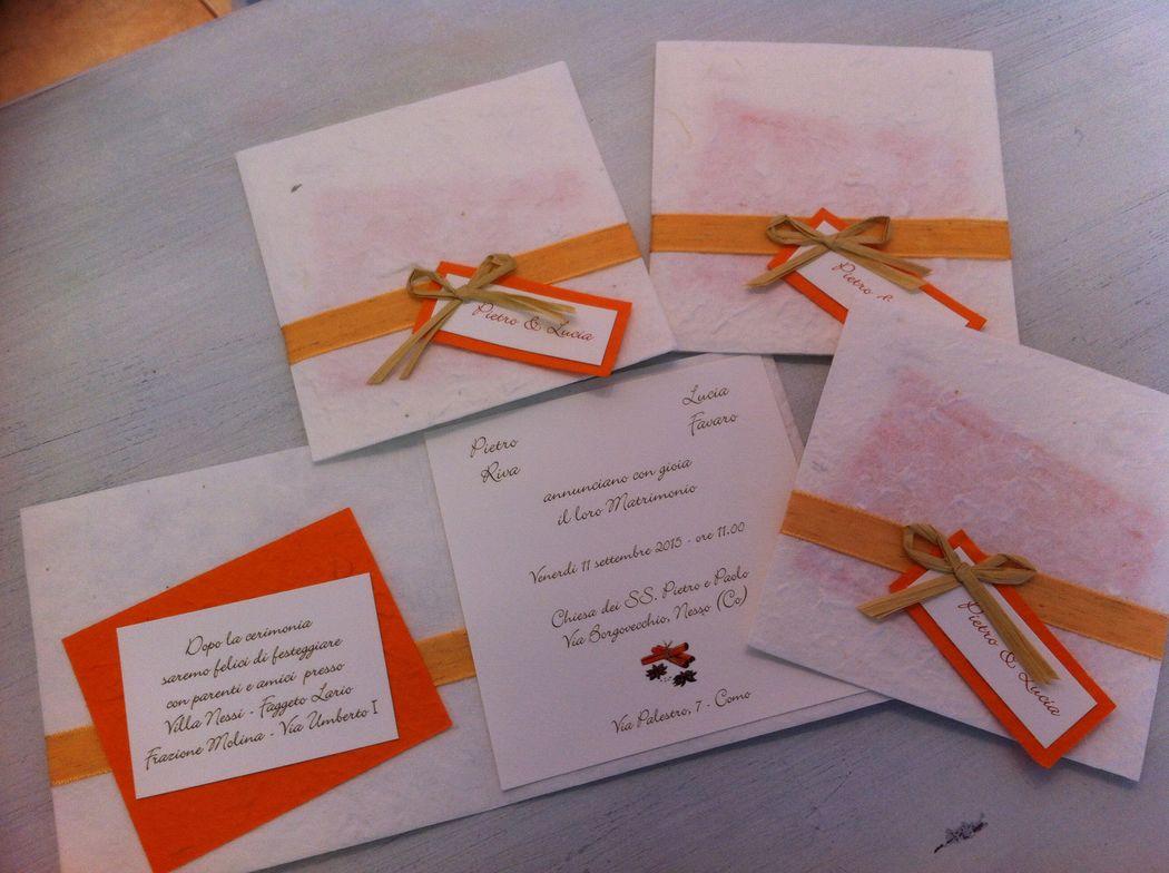 Partecipazione invito in carta di gelso arancione