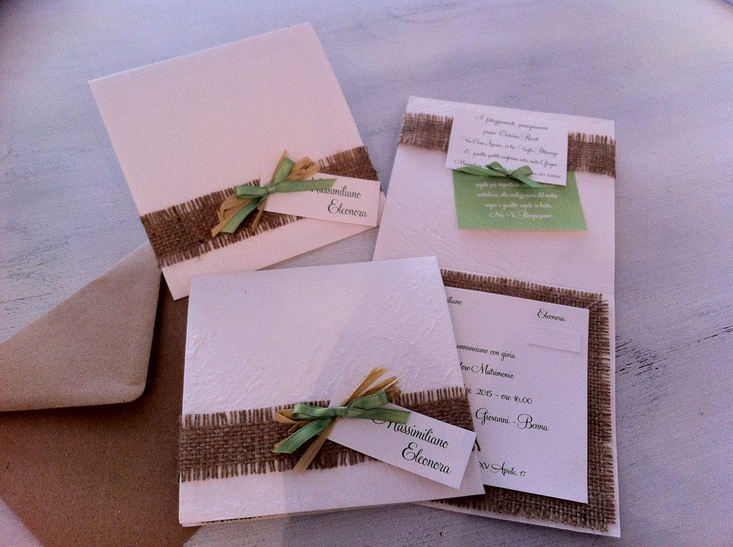 Partecipazione invito per matrimonio rustico con tela juta