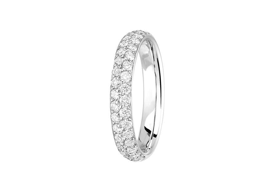 Alliance Diamant Jonc Parisien 2 rangs - or blanc & diamants