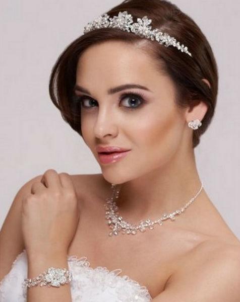 Bijou Bonheur Parure de Bijoux de Mariage Diadème, Boucles d'oreilles Collier, Strass Cristaux de Swarovki